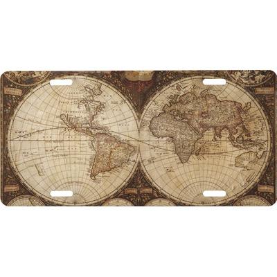 Vintage World Map Front License Plate