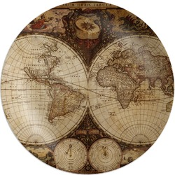 Vintage World Map Melamine Plate