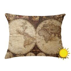 Vintage World Map Outdoor Throw Pillow (Rectangular)