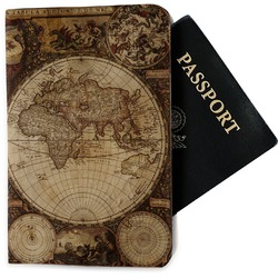 Vintage World Map Passport Holder - Fabric
