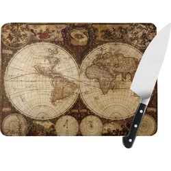 Vintage World Map Rectangular Glass Cutting Board