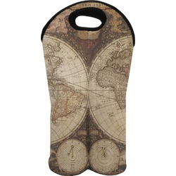 Vintage World Map Wine Tote Bag (2 Bottles)