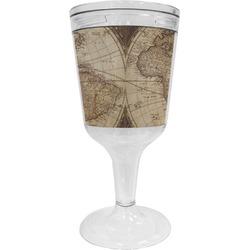 Vintage World Map Wine Tumbler - 11 oz Plastic