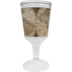 Vintage World Map Wine Tumbler - 11 oz Plastic