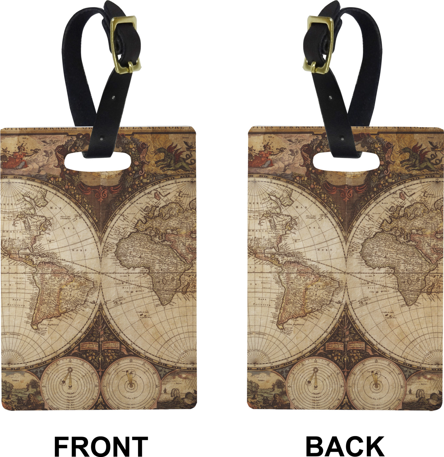 Vintage world map rectangular luggage tag youcustomizeit antique world map personalized rectangular luggage tag antique world map rectangle luggage tag front back gumiabroncs Image collections