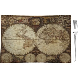 Vintage World Map Rectangular Glass Appetizer / Dessert Plate - Single or Set