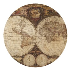 Vintage World Map Round Decal - Custom Size