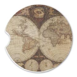 Vintage World Map Sandstone Car Coasters