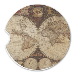 Vintage World Map Sandstone Car Coasters