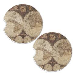 Vintage World Map Sandstone Car Coasters - Set of 2