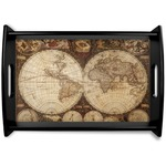 Vintage World Map Black Wooden Tray