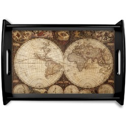 Vintage World Map Black Wooden Tray