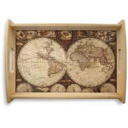 Vintage World Map Natural Wooden Tray