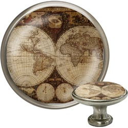 Vintage World Map Cabinet Knob (Silver)
