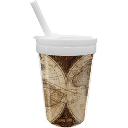 Vintage World Map Sippy Cup with Straw