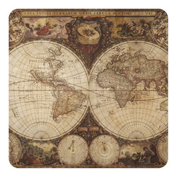 Vintage World Map Square Decal - Custom Size