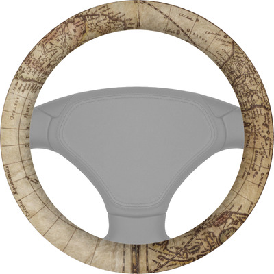 Vintage World Map Steering Wheel Cover