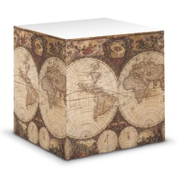 Vintage World Map Sticky Note Cube