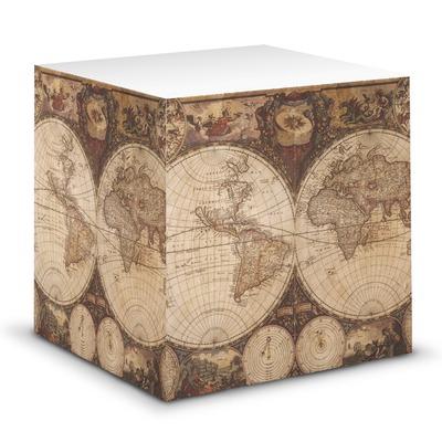 Vintage World Map Sticky Note Cube