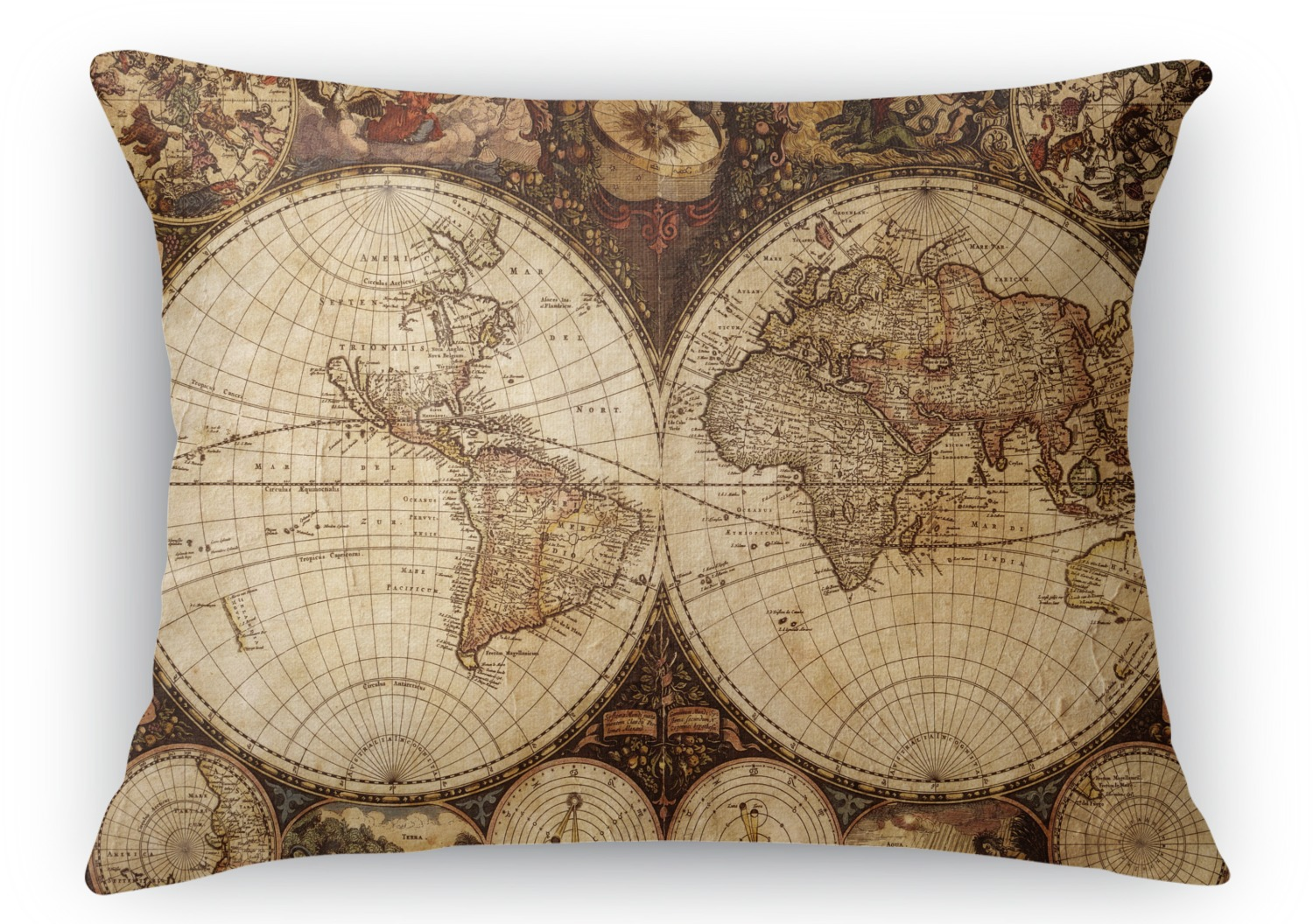 Throw Pillows With World Map : Vintage World Map Rectangular Throw Pillow - YouCustomizeIt