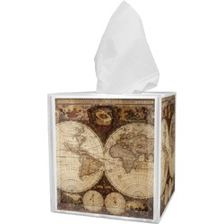 Vintage World Map Tissue Box Cover