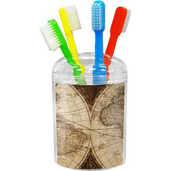 Vintage World Map Toothbrush Holder