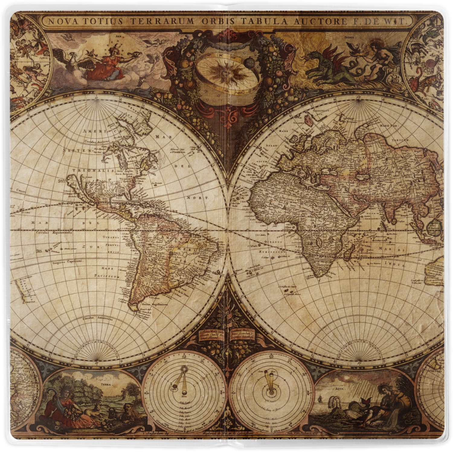 Vintage world map travel document holder youcustomizeit antique world map vinyl document wallet apvl gumiabroncs Image collections