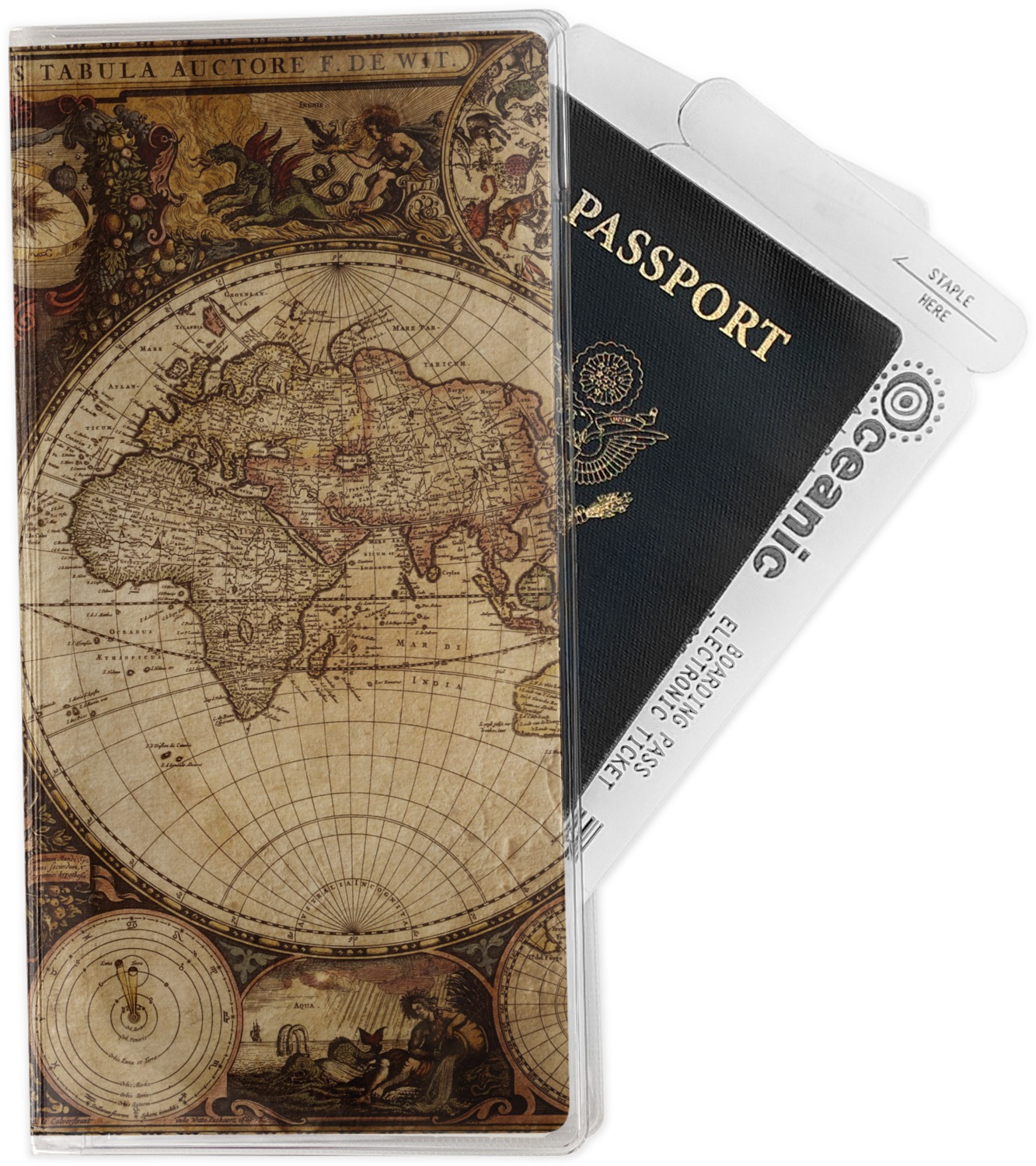 Vintage world map travel document holder youcustomizeit vintage world map travel document holder gumiabroncs Image collections
