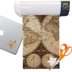 Vintage World Map Sticker Vinyl Sheet (Permanent)