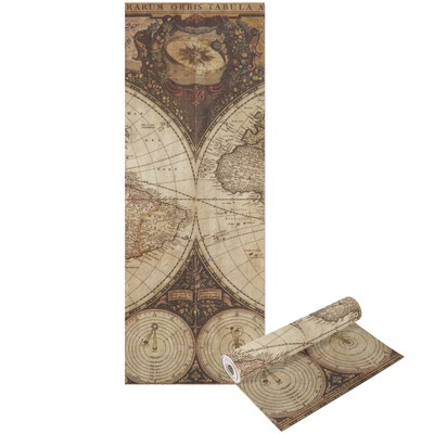 Vintage World Map Yoga Mat - Printable Front and Back