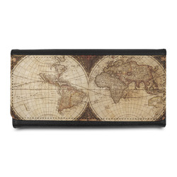 Vintage World Map Leatherette Ladies Wallet