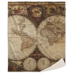 Vintage World Map Sherpa Throw Blanket