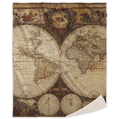 Vintage World Map Sherpa Throw Blanket