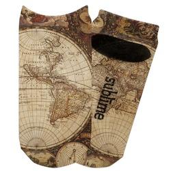 Vintage World Map Adult Ankle Socks
