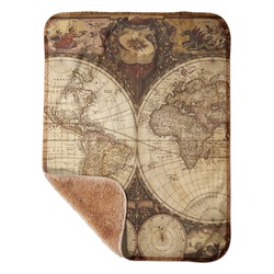 "Vintage World Map Sherpa Baby Blanket 30"" x 40"""