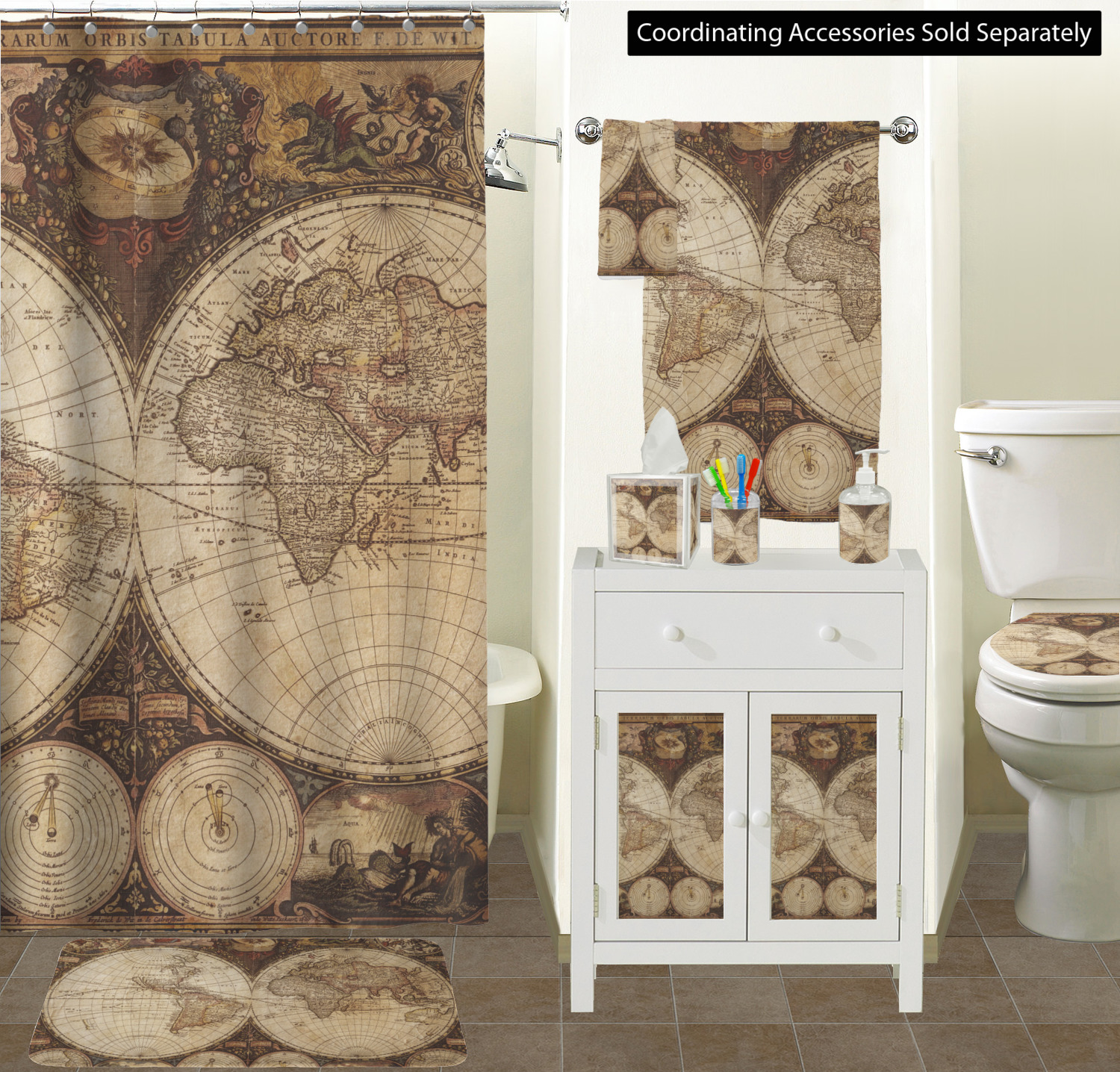 Exceptionnel ... Antique World Map Bathroom Scene Custom Bathroom Decor ...