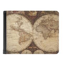Vintage World Map Genuine Leather Men's Bi-fold Wallet