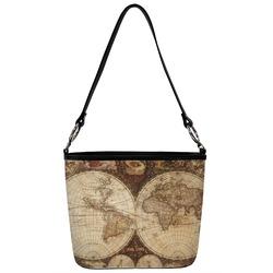 Vintage World Map Bucket Bag w/ Genuine Leather Trim