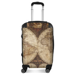 """Vintage World Map Suitcase - 20"""" Carry On"""