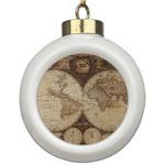Vintage World Map Ceramic Ball Ornament