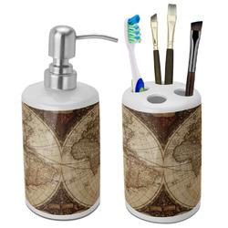 Vintage World Map Bathroom Accessories Set (Ceramic)