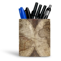 Vintage World Map Ceramic Pen Holder