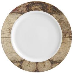 Vintage World Map Ceramic Dinner Plates (Set of 4)