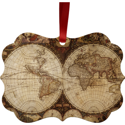 Vintage World Map Metal Frame Ornament - Double Sided