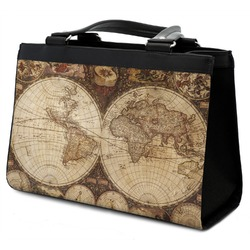 Vintage World Map Classic Tote Purse w/ Leather Trim