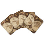Vintage World Map Cork Coaster - Set of 4
