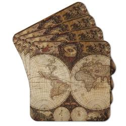 Vintage World Map Cork Coaster - Set of 4