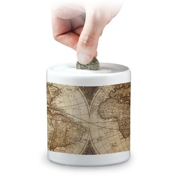 Vintage World Map Coin Bank