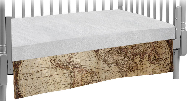 Vintage World Map Crib Skirt Youcustomizeit