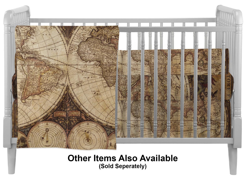 Vintage World Map Crib Comforter / Quilt